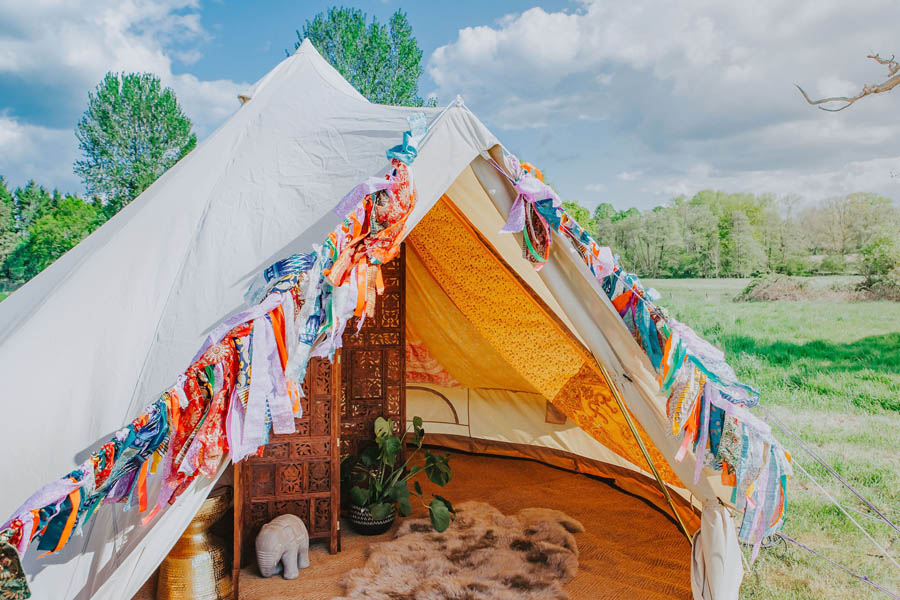 Draped boho bridal bell tent
