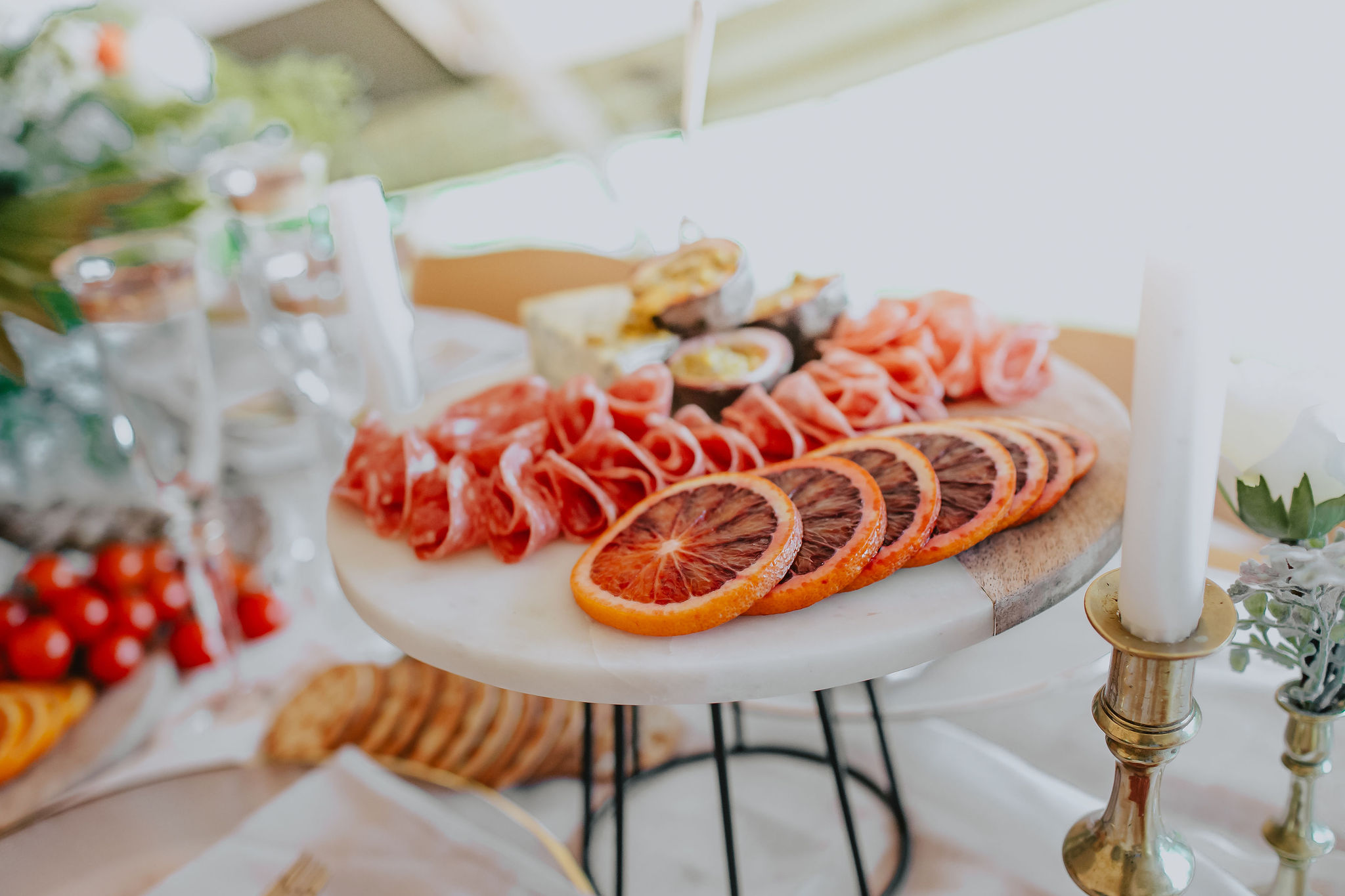Grazing platter laid out on a table