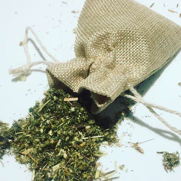 Hessian pouch of herbs