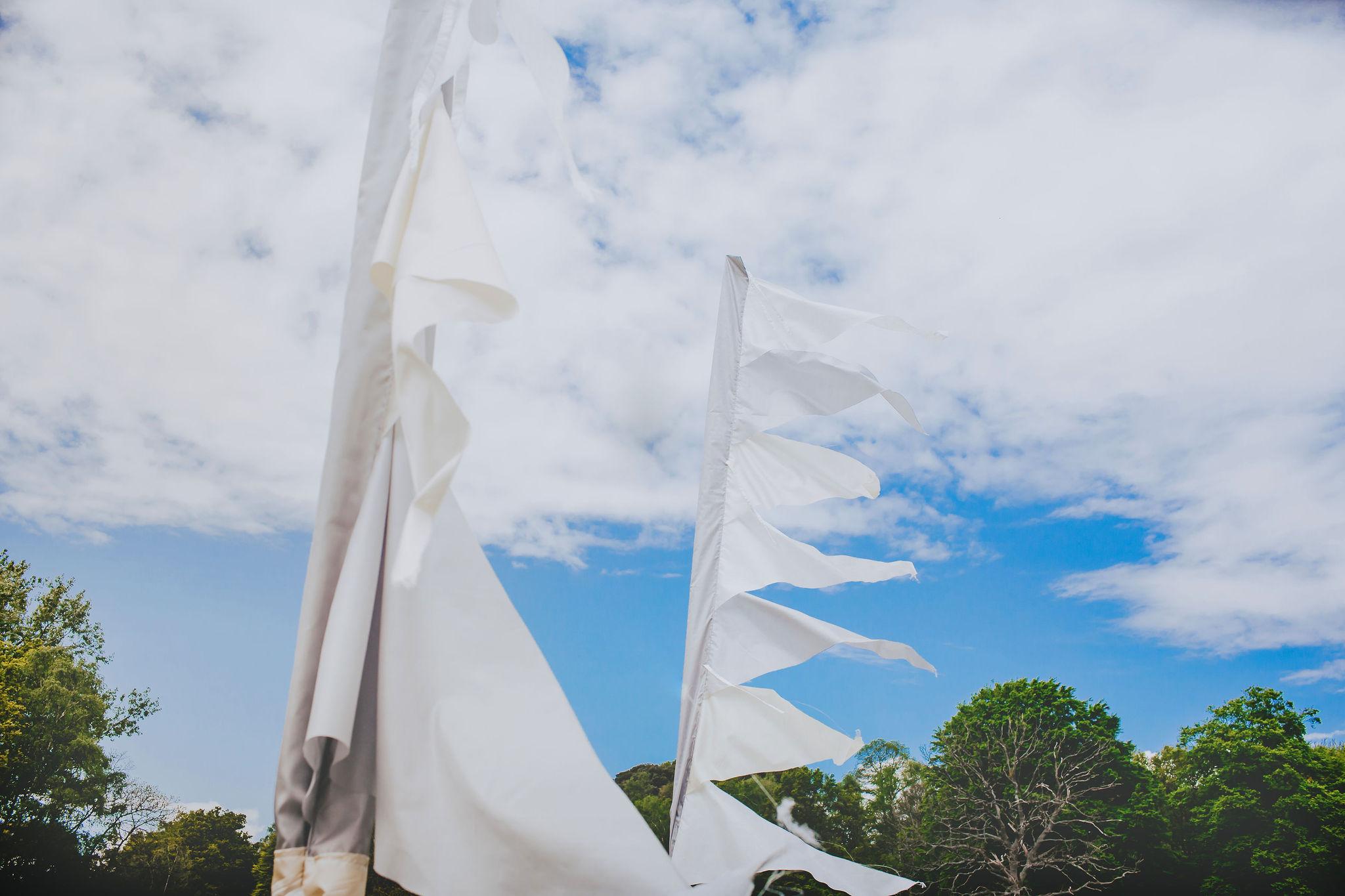 white festival flags