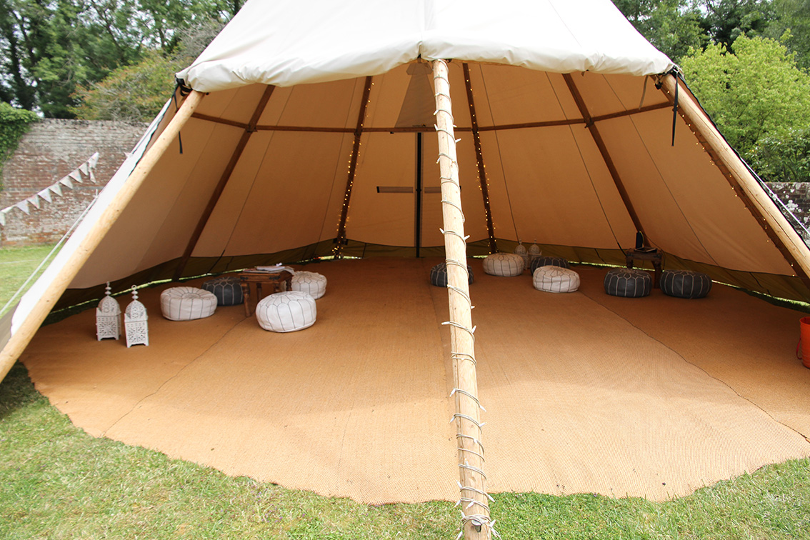 tipi with moroccan seating inside