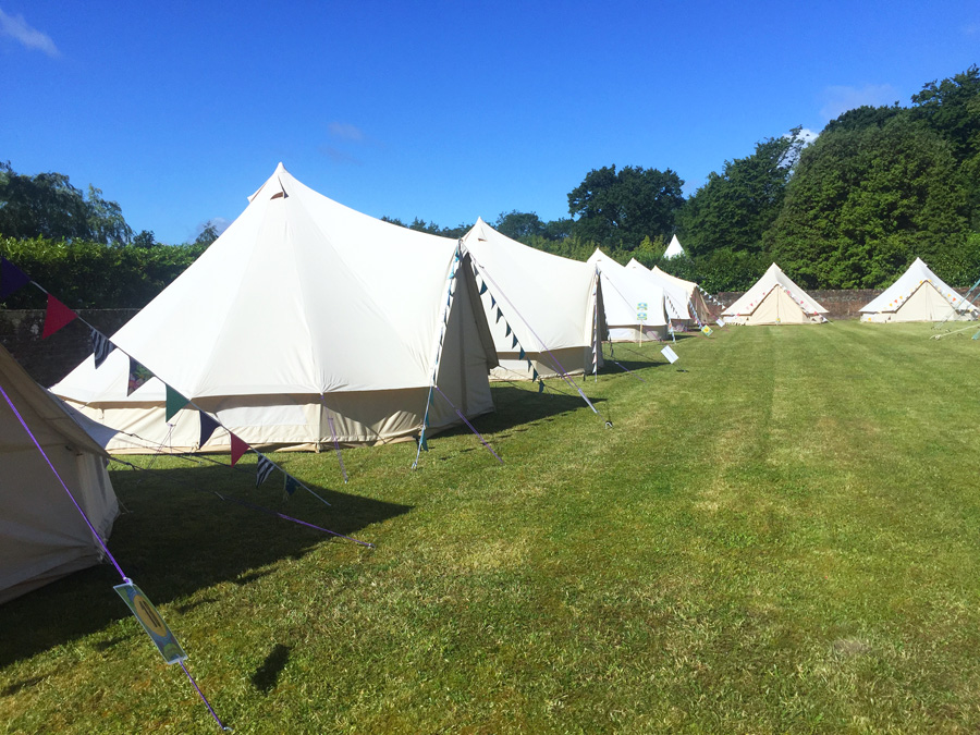 row of bell tents