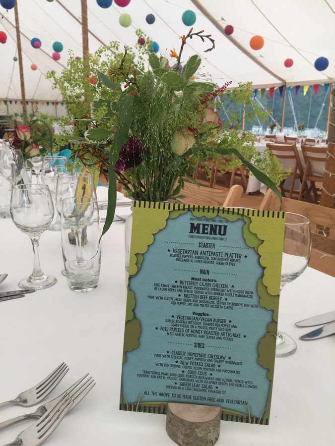a menu sat on a table in a marquee