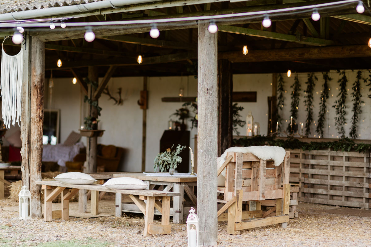 rustic barn with pallet seating