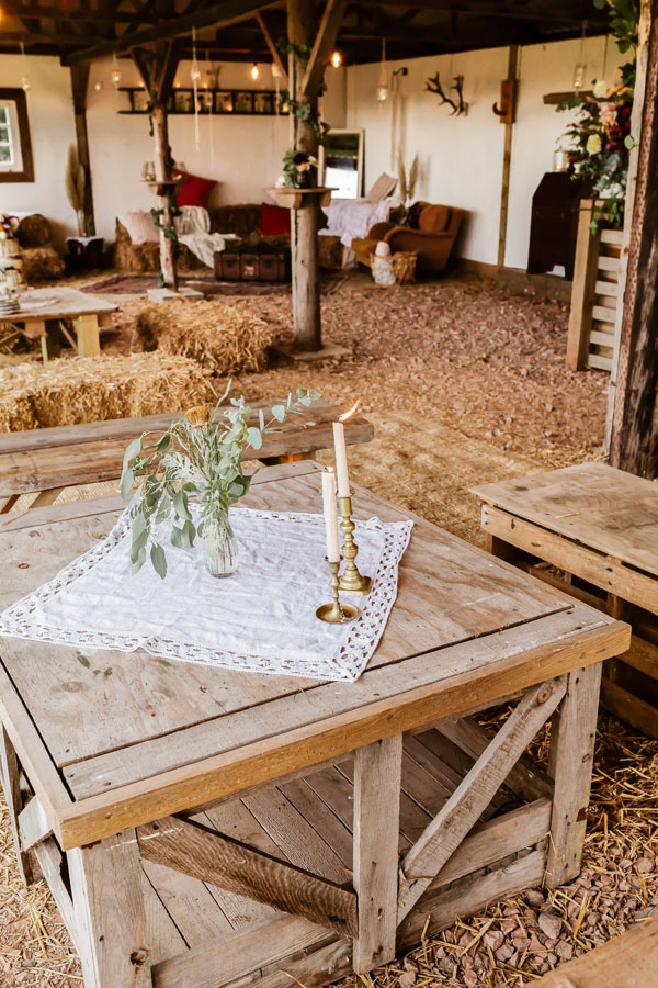 rustic barn with table set