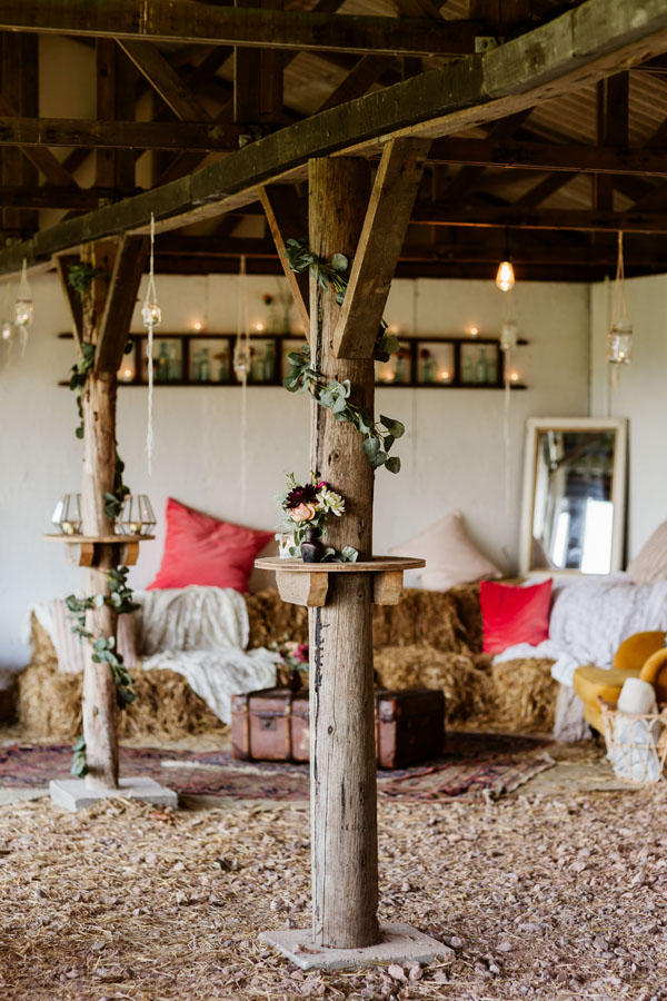 rustic barn with seating area
