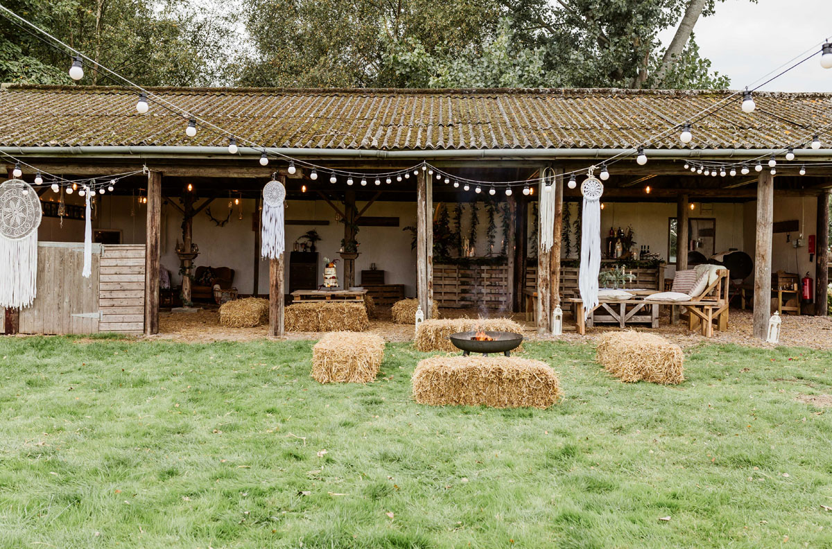 rustic barn with festoons