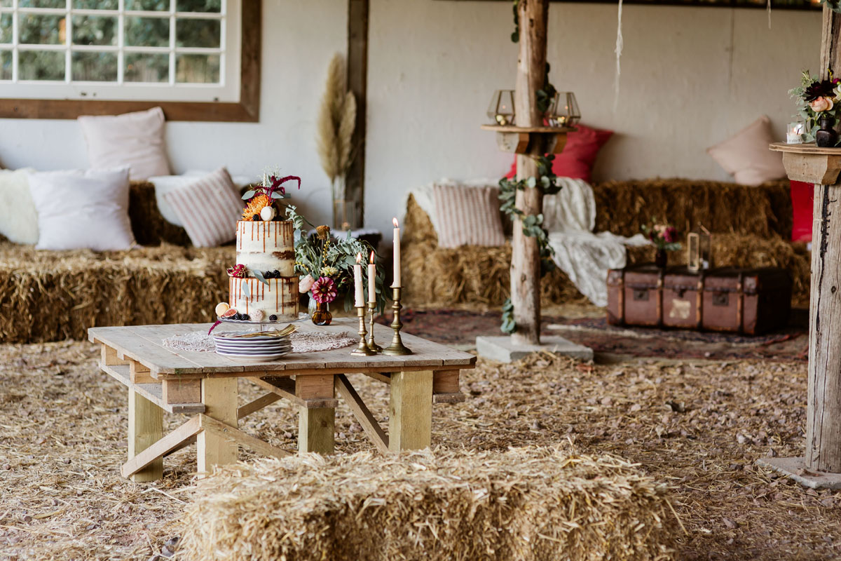 rustic barn with hay bale seating