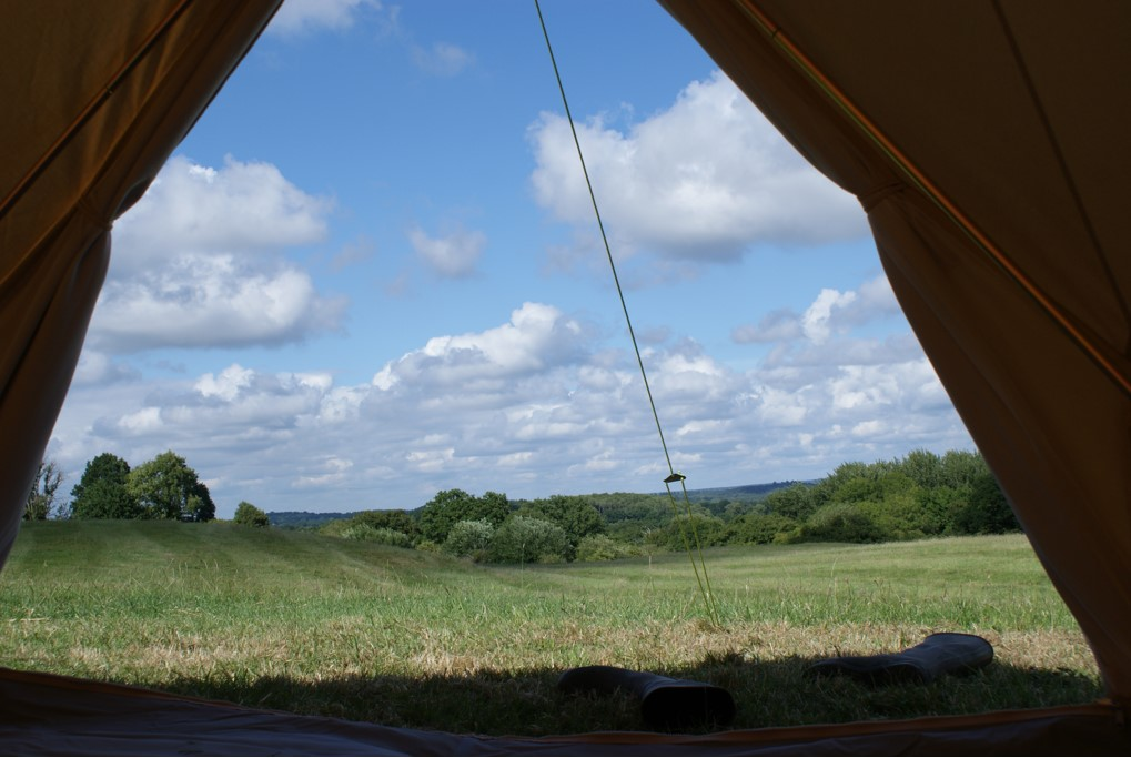 Wheatham Farm field view from a bell tent