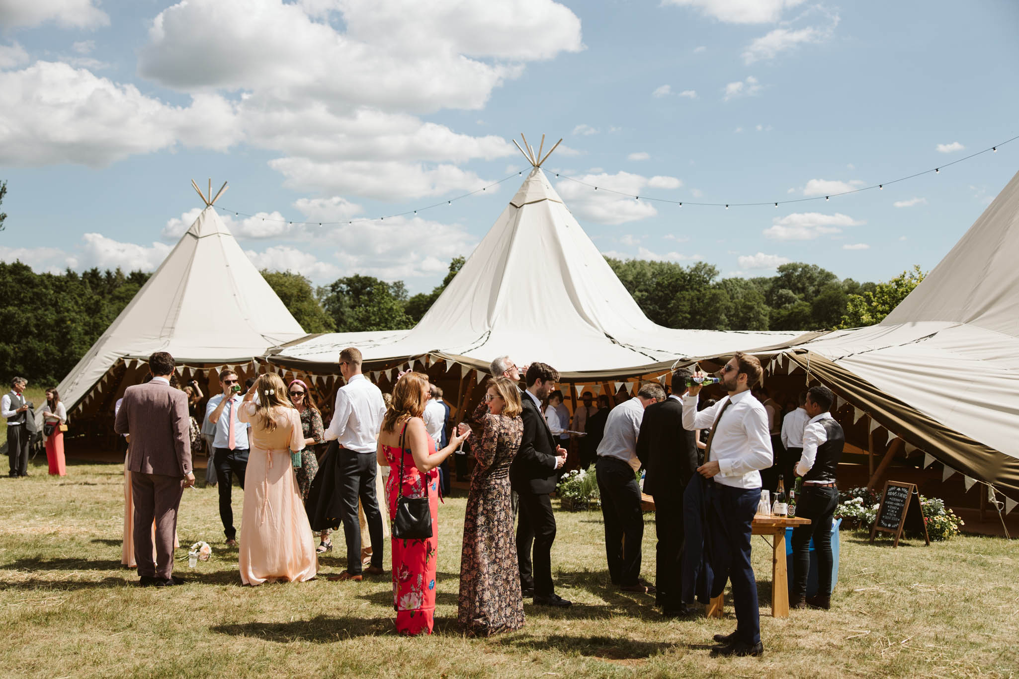drinks reception outside a tipi
