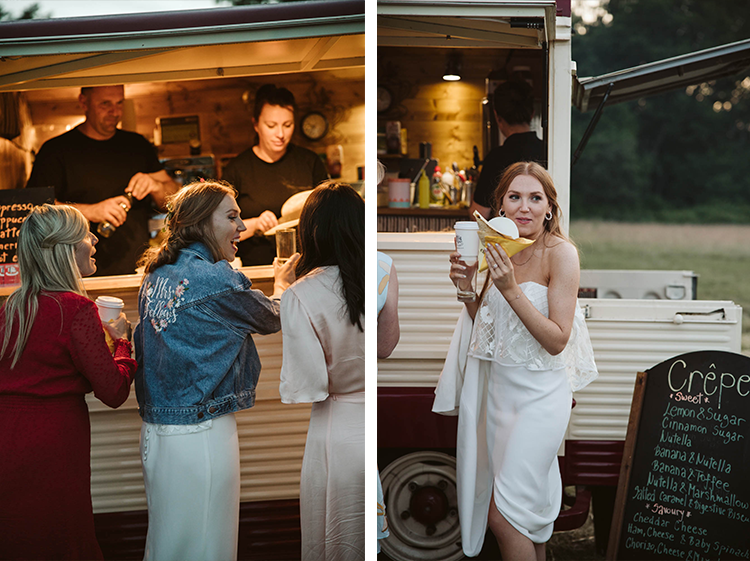 bride getting crepes from a crepe van