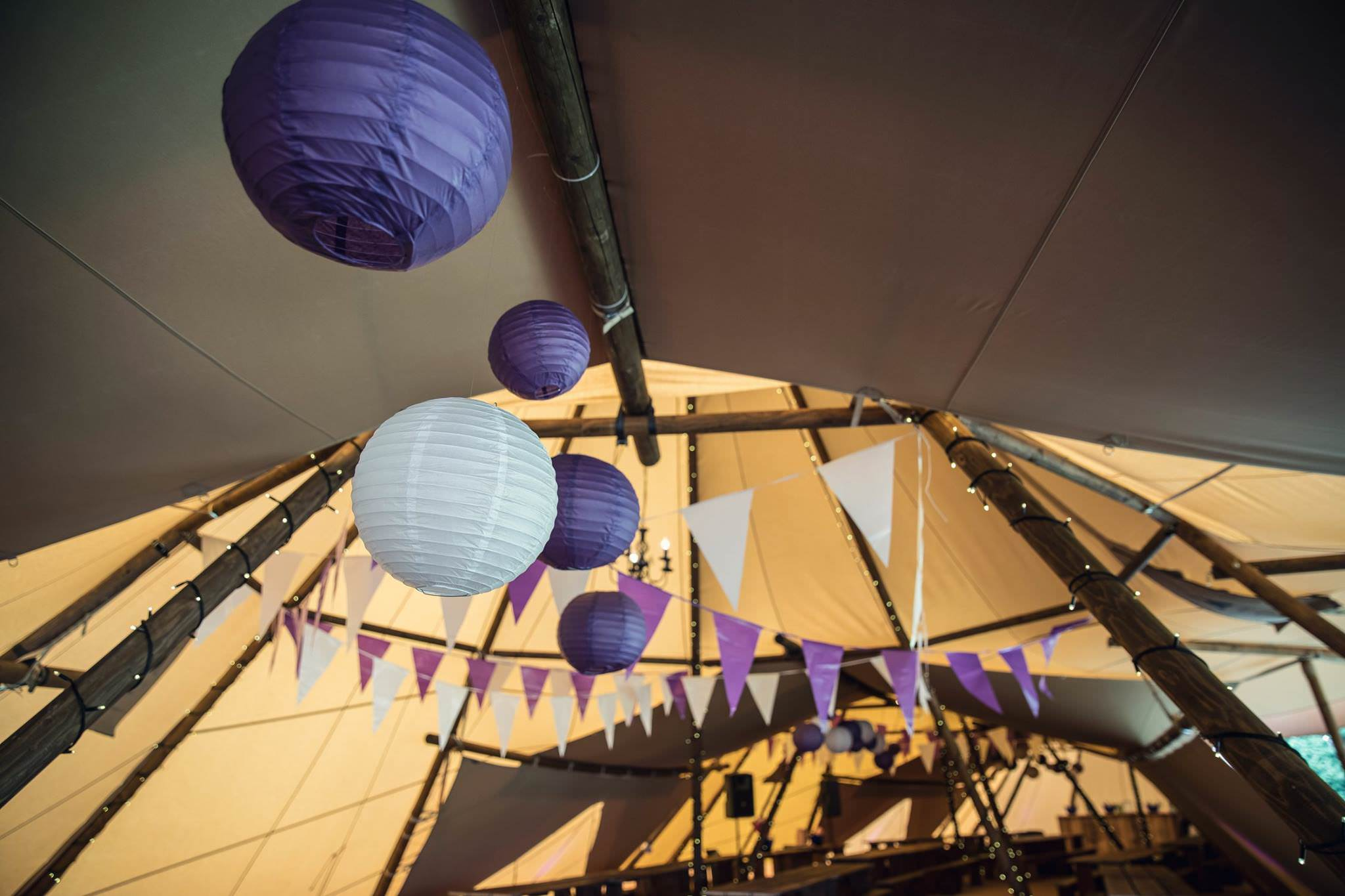 chinese lanterns in a tipi