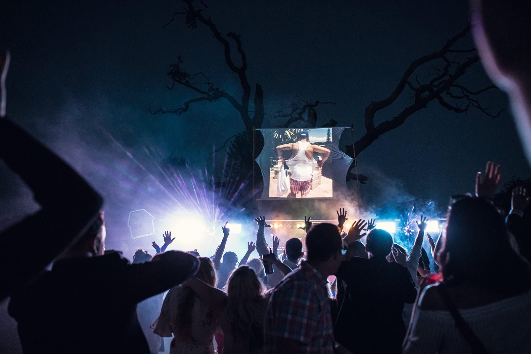 outdoor dance floor with outdoor film