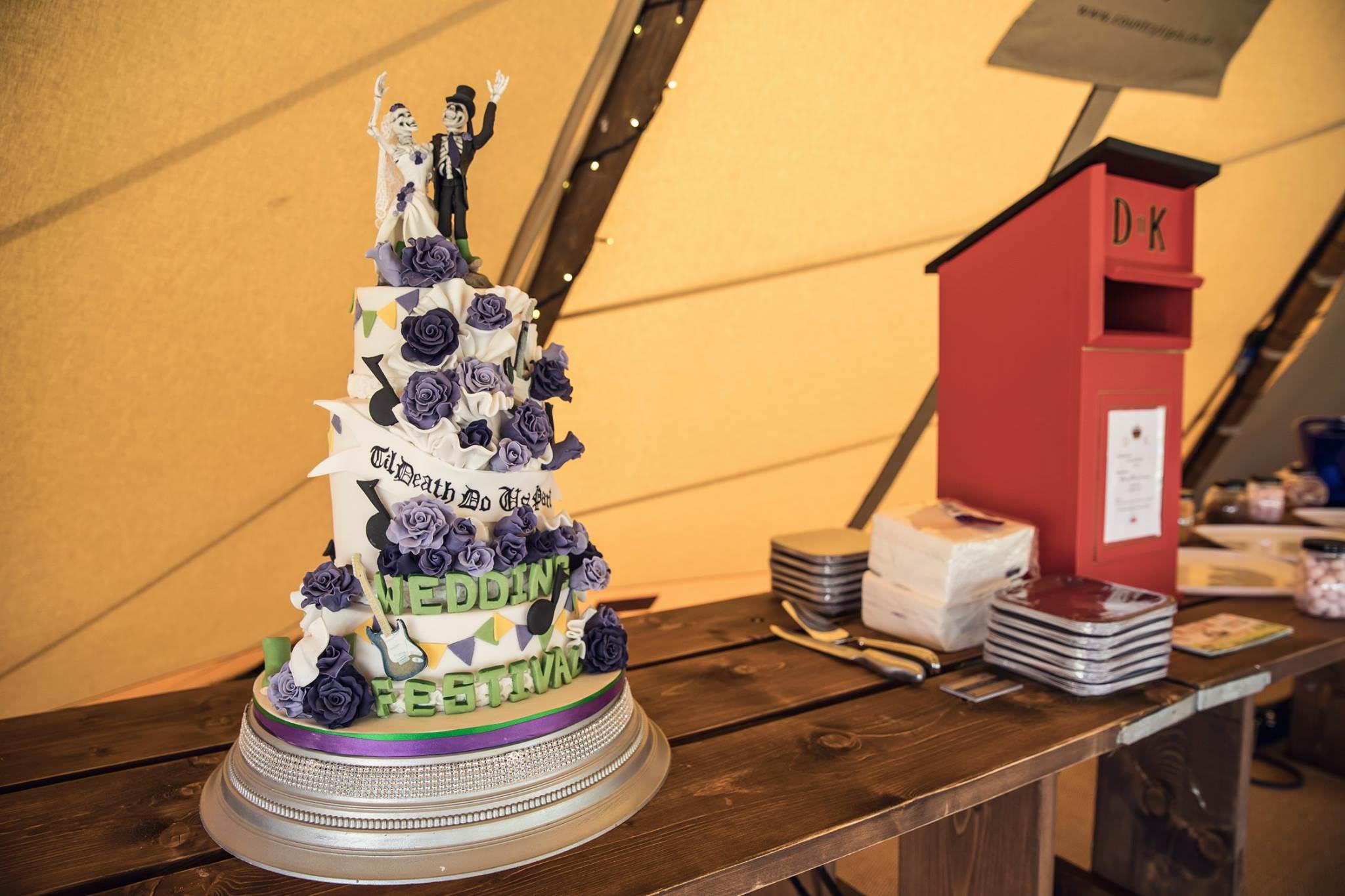 festival wedding cake inside a tipi