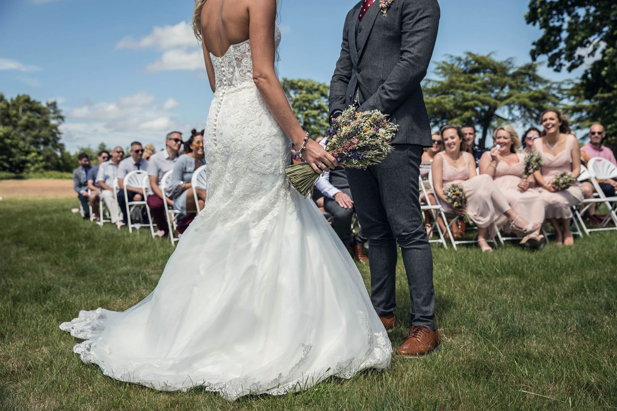 bride and groom at their outdoor ceremony