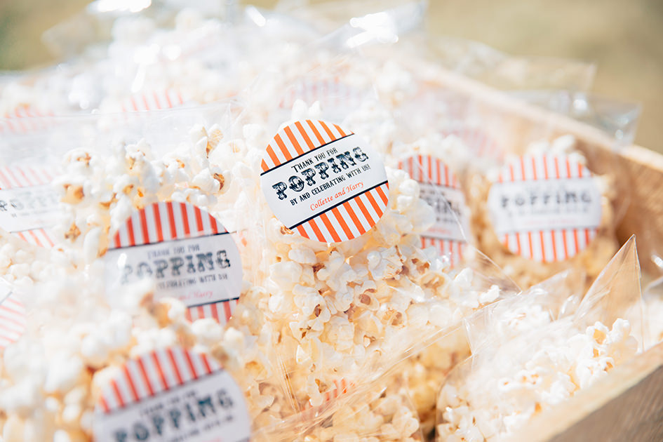 popcorn snacks at a tipi wedding in surrey