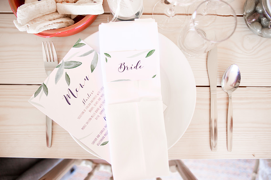 place setting at a tipi wedding