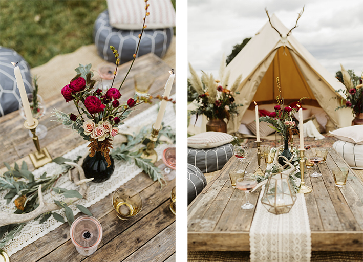 low level seating outside a bell tent in a field
