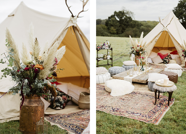bell tent boho lounging outside