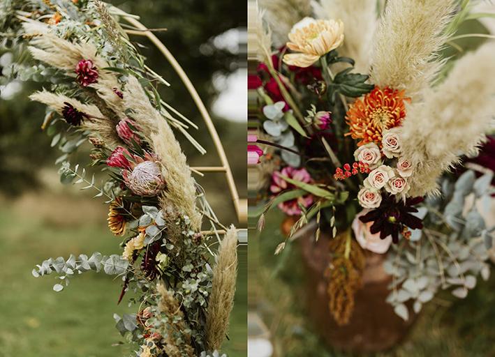 beautiful rustic florals outdoor wedding ceremony