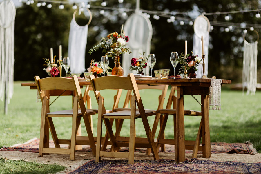 outdoor dining with giant dreamcatchers