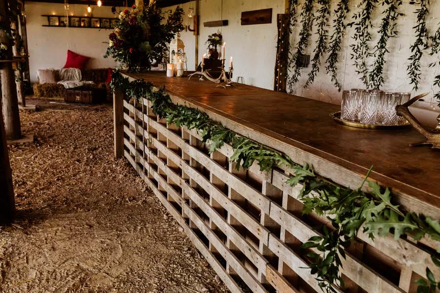 pallet bar in a rustic barn