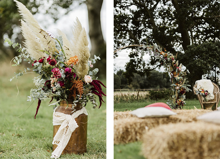 outdoor blessing with haybales and rustic forals